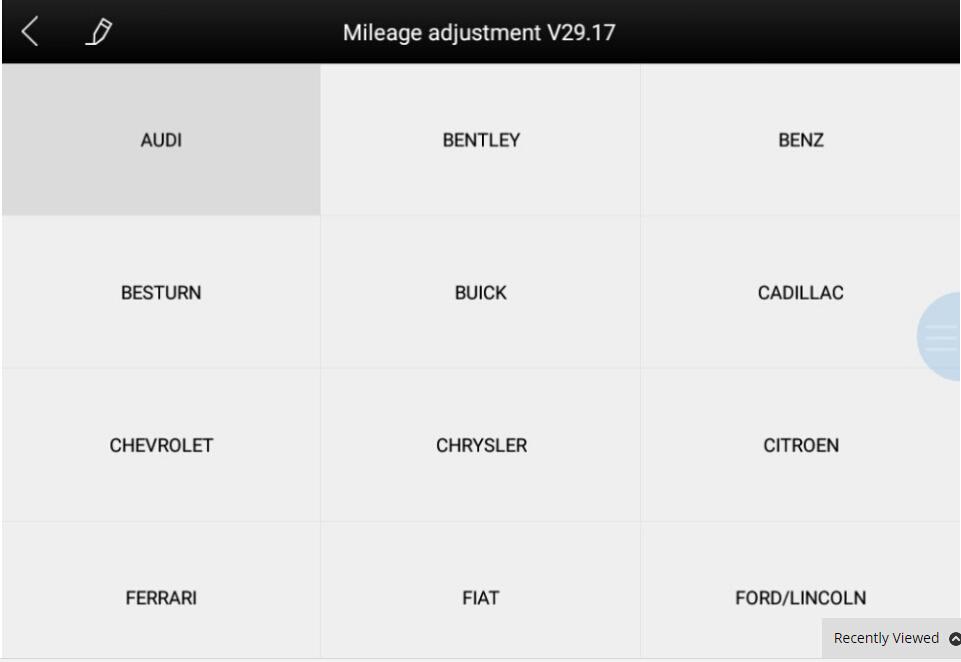 Mileage Adjustment Car List